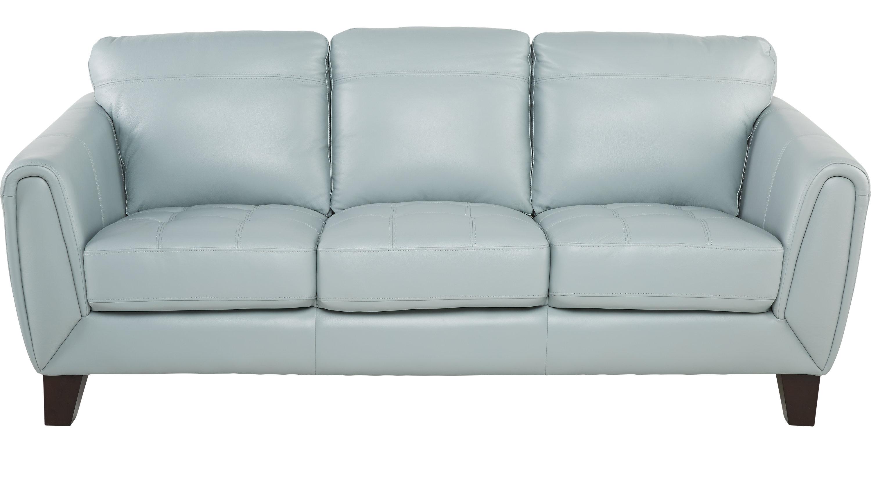 $777.00 - Livorno Aqua (light blue) Leather Sofa - Classic