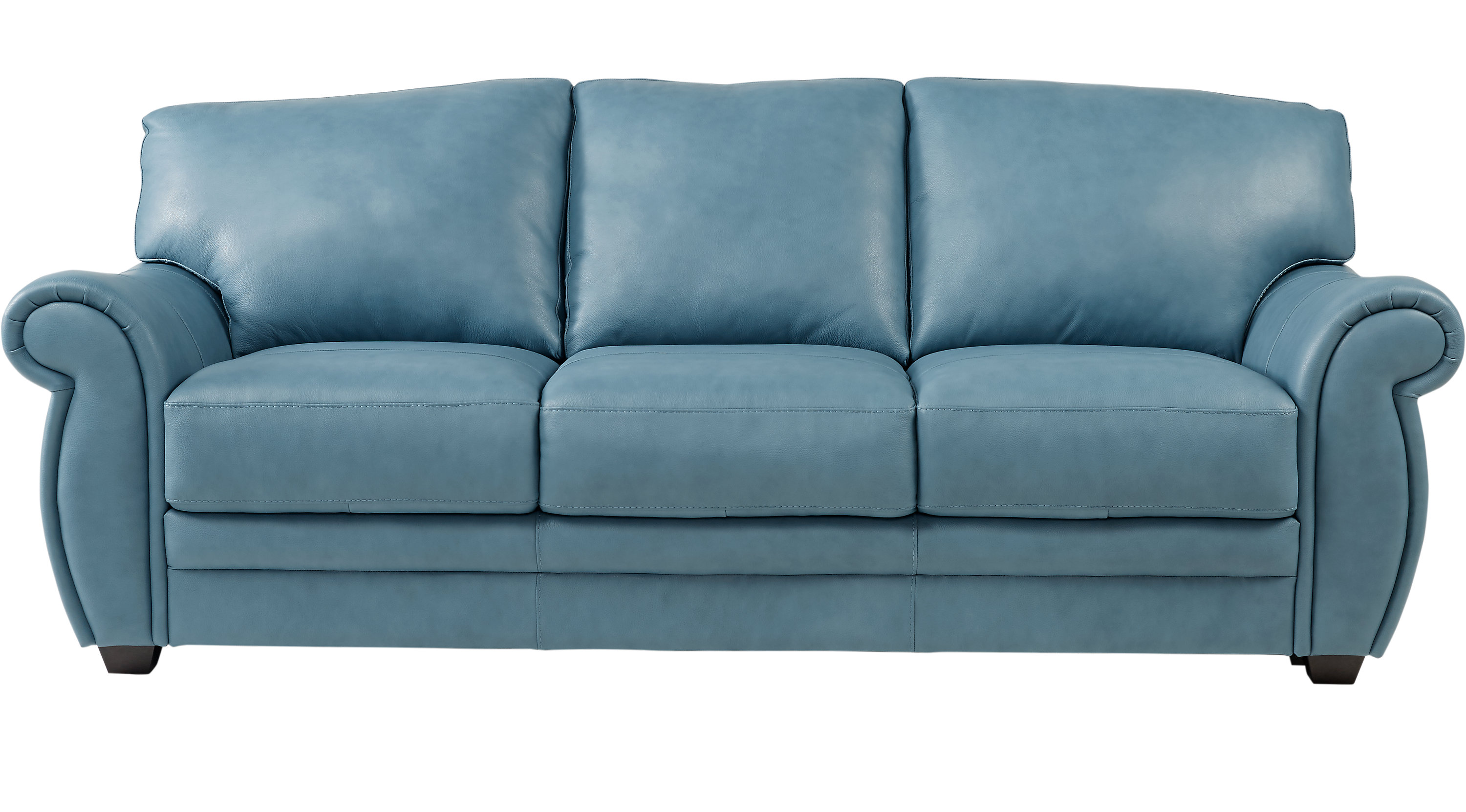 $698.00 - Martello Blue Leather Sofa - Classic - Transitional,
