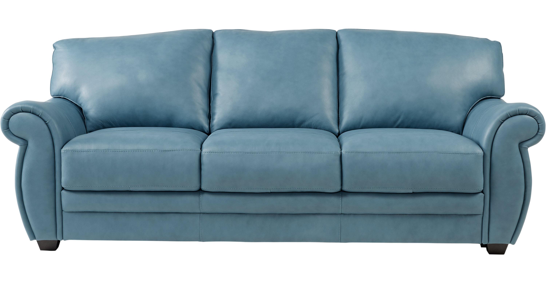 $698.00 - Martello Blue Leather Sofa - Classic - Transitional,