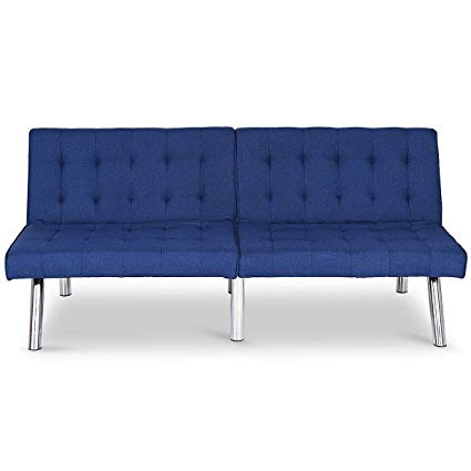 Amazon.com: Navy Blue PU Leather Futon Convertible Sofa Sleeper Bed
