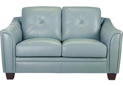 979 99 Marcella Spa Blue Leather Loveseat Clic Contemporary