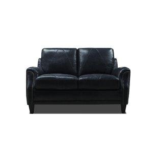 Dark Blue Leather Loveseat | Wayfair