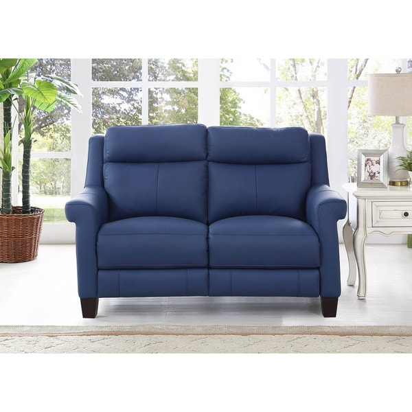 Shop Hydeline by Amax Dolce Top Grain Blue Leather Power Reclining