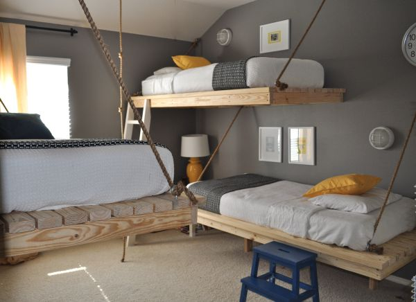 Creative boys' room decor with hanging beds