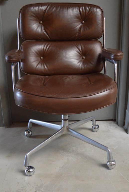 Vintage Brown Leather Eames Time Life Chair For Sale at 1stdibs