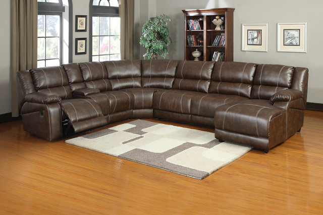 Soft Brown Leather Reclining Sectional Sofa Push Back Chaise Recliner