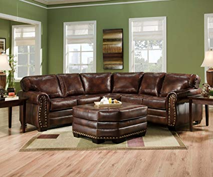 Amazon.com: SIMMONS 9222DN ENCORE BROWN LEATHER SECTIONAL SOFA