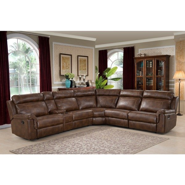 Shop Nicole Reclining Brown Leather Sectional Sofa - On Sale - Free