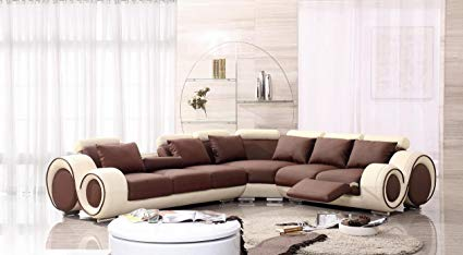 Amazon.com: 4087 Beige & Brown Leather Sectional Sofa With Built-in