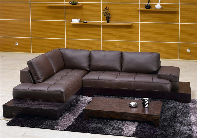 Modern Brown Leather Sectional Sofa TOS-FY633-2-BR