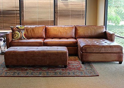 Phoenix 100% Full Aniline Leather Sectional Sofa with Chaise