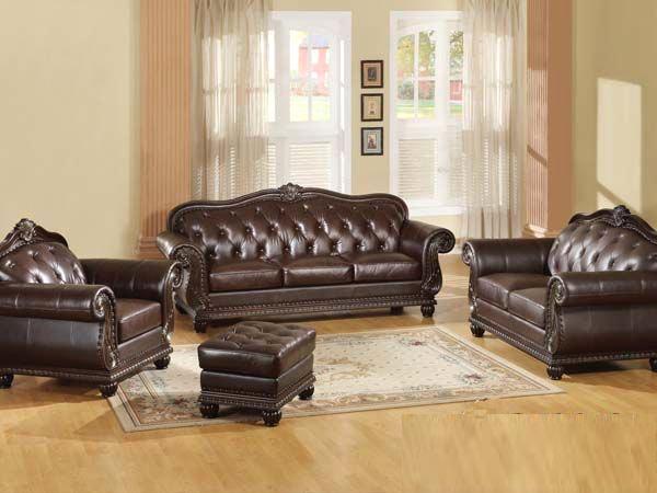 Dark Brown Leather Sofa AC-150   Traditional Sofas