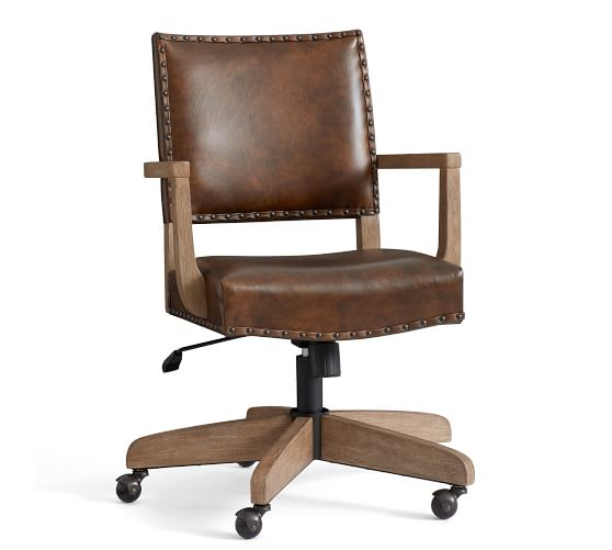 Manchester Leather Swivel Desk Chair | Pottery Barn