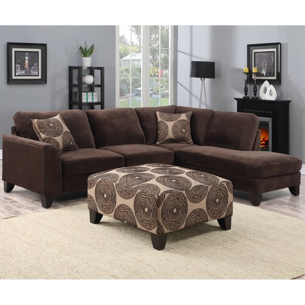 Shop Porter Malibu Chocolate Brown Sectional Sofa with Ottoman