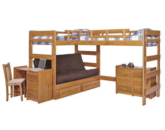 Heartland L-Shaped Futon Triple Bunk Bed (LF6200 - Honey Pine