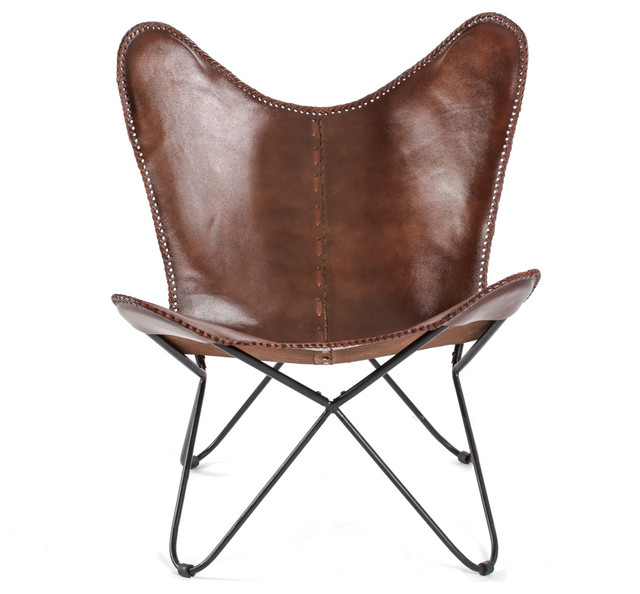 Montreux Iron Butterfly Chair With Leather Seat - Industrial