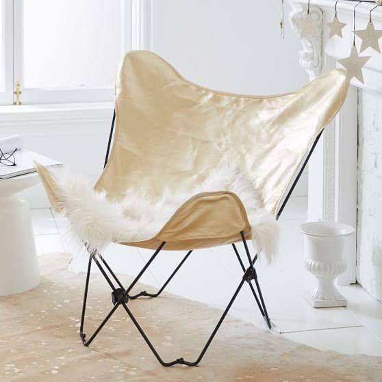 The Emily & Meritt Gold Butterfly Chair | PBteen