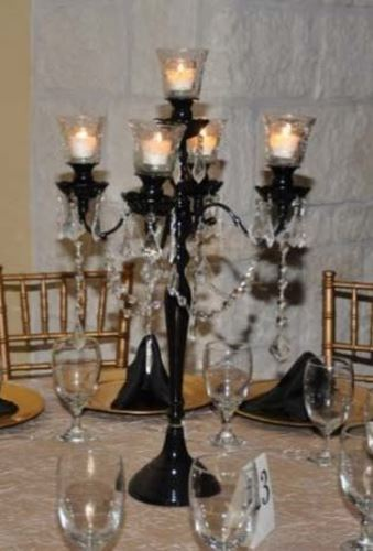 Linens and Events - Black Candelabra Centerpiece rental | Linens and