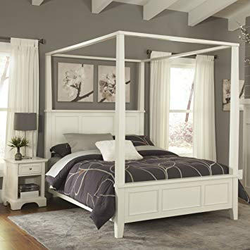 Amazon.com: Home Styles Naples White Queen Canopy Bed and Night