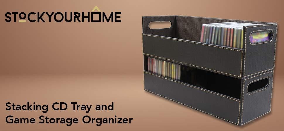 CD Storage Box Rack Holder Stacking Tray Shelf DVD Disk Case Space