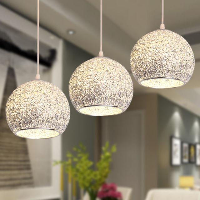 Modern Ceiling Lights Bar Lamp Silver Chandelier Lighting Kitchen