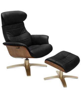 Furniture Annaldo Leather Swivel Chair & Ottoman 2-Pc. Set