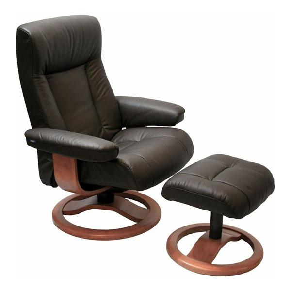 Scansit 110 Ergonomic Leather Recliner Chair + Ottoman Scandinavian