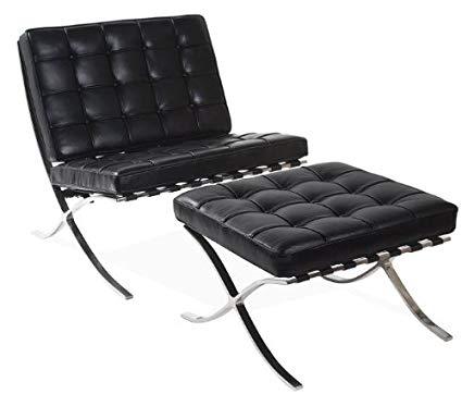 Amazon.com: Barcelona Chair & Ottoman - Black Aniline Leather