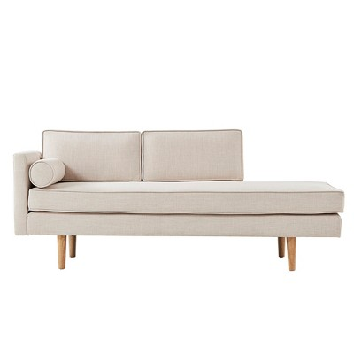 Kirsten Mid-Century Chaise Lounge With Cushion - Beige Linen