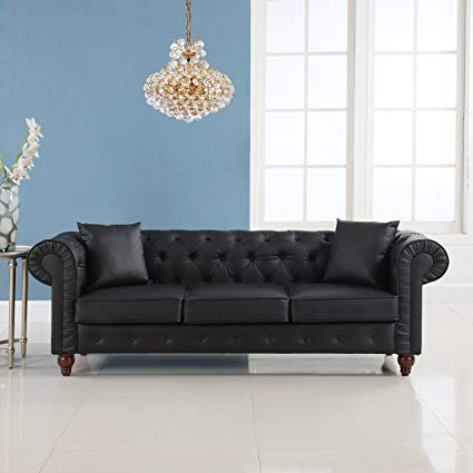 Amazon.com: Classic Scroll Arm Chesterfield Sofa - Bonded Leather