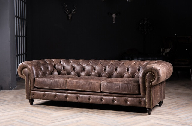 Chesterfield sofa with vintage italian leather for antique style