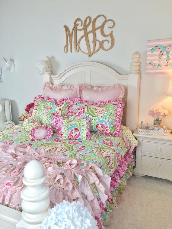 Kumari Children's Bedding Hot Pink Damask Bedding Set | Etsy