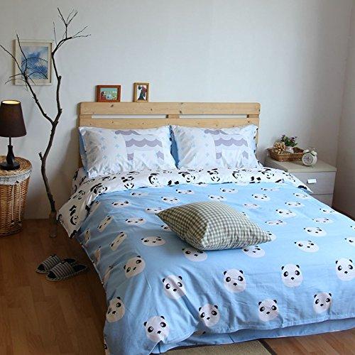 LELVA Kids Bedding Set Panda Print Duvet Cover Set Blue Children's