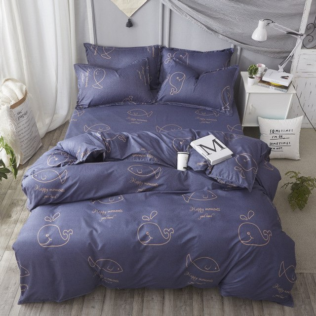 Home Textile Soft Dark Blue 3/4pcs Bedding Sets Children's Bedding