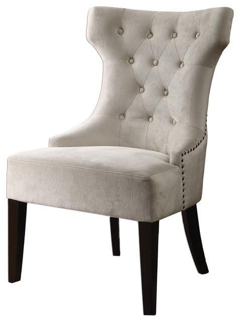 Kaylin Modern Classic Tuft Velvet Ivory Beige Wing Chair - Modern