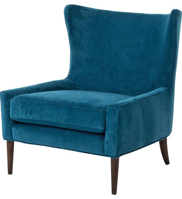 Paola Modern Classic Peacock Blue Velvet Wing Lounge Chair - Modern