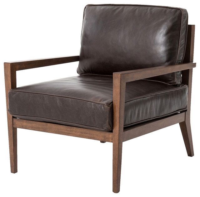 Kyrie Modern Classic Brown Leather Angular Armchair - Modern