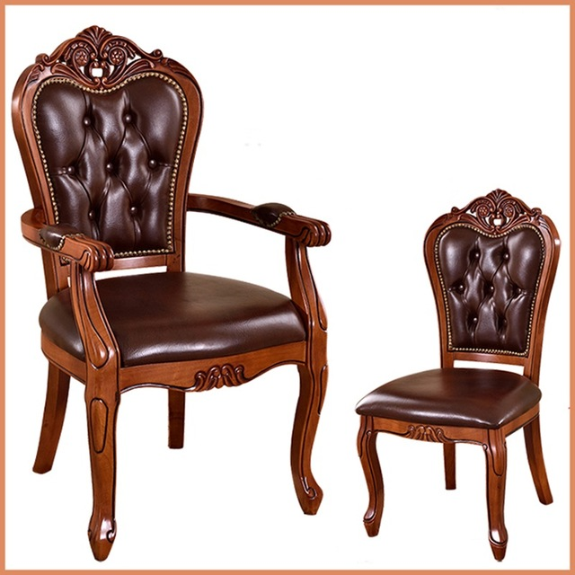European solid wood dining chair hotel coffee chairs study armchairs