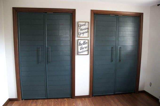 Bi-fold to Faux Shiplap French Closet Doors - Bright Green Door
