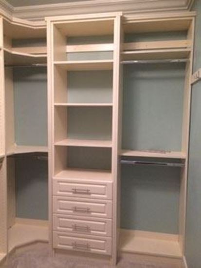 Elegant Glass. Wood Closet Organizers with Drawers & Shelves, White