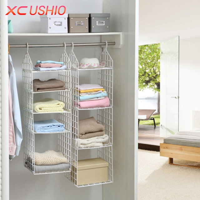 Folding Wardrobe Clothes Underwear Storage Rack Hooks Home Closet