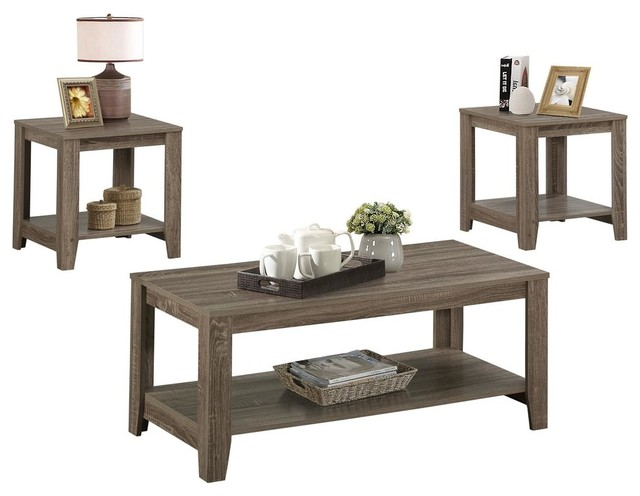 TABLE SET - 3PCS SET / DARK TAUPE - Transitional - Coffee Table Sets