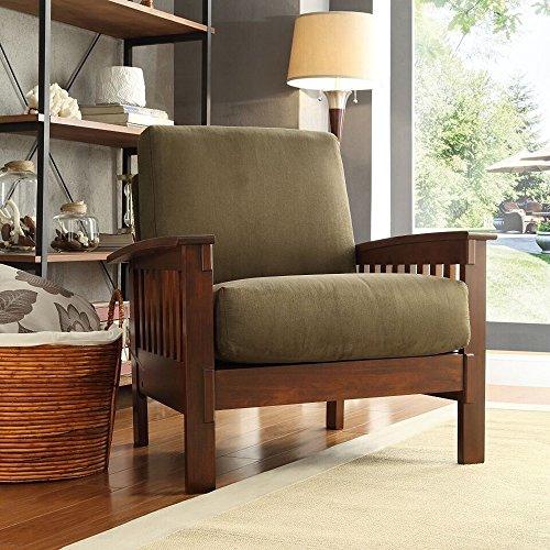 TRIBECCA HOME Hills Modern Mission-Style Oak Upholstered Microfiber Accent  Chair Armchair for Comfortable Living
