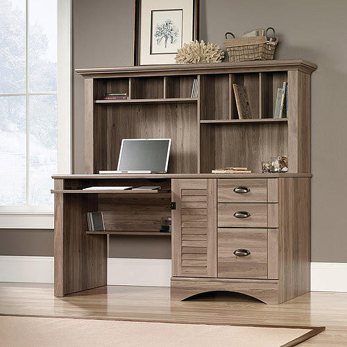 Sauder Harbor View Computer Desk with Hutch, Salt Oak - Walmart.com