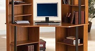 Amazon.com: Corner Computer Desk Workstation with hutch, Brown: Beauty
