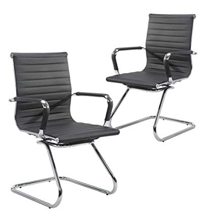 Amazon.com: Wahson Heavy Duty Leather Office Guest Chair Mid Back