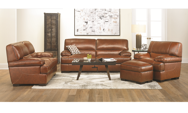 Tampa Top-Grain Leather 4-piece Living Room Set|The Dump Luxe