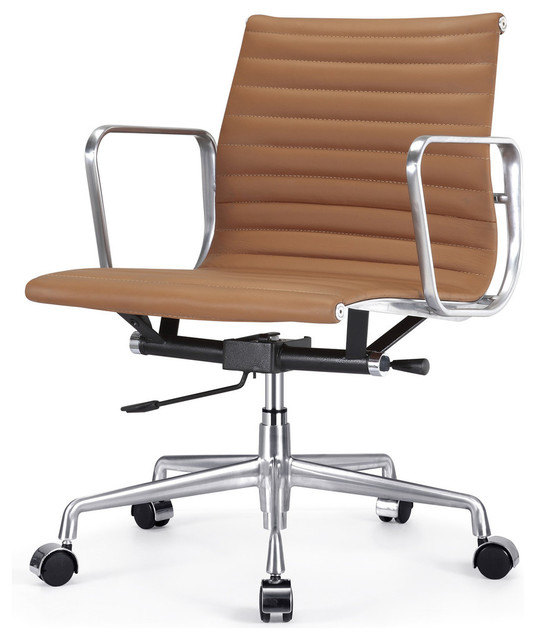 Ribbed Back Office Chair Leather - Contemporary - Office Chairs - by