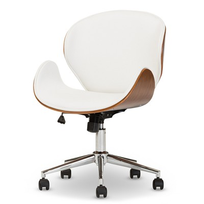 Bruce Modern And Contemporary Office Chair - White, Walnut Brown