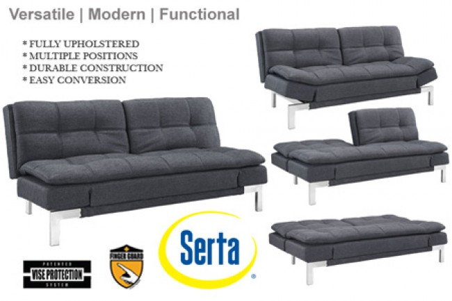 Simple Modern Futon Sofa Bed Grey | Boca Futon| The Futon Shop